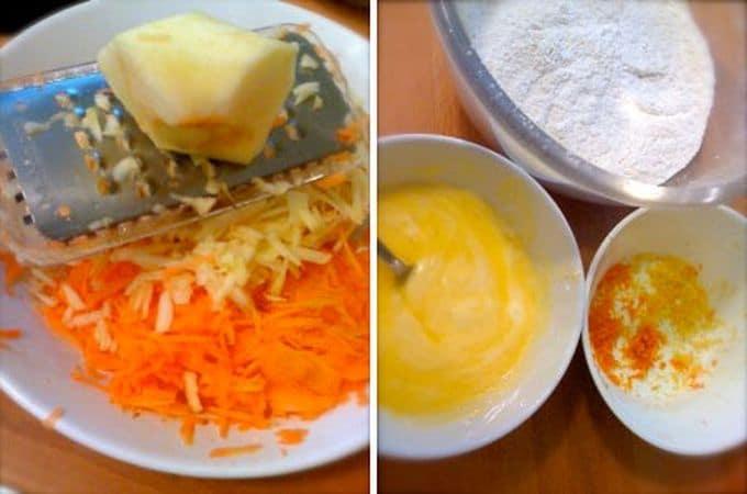 Accendete il forno a 180 gradi. Foderate il fondo di una tortiera a cerchio apribile con carta forno e ungete i bordi con margarina. Grattate la scorza degli agrumi e mettete da parte. Mescolate la farina e il lievito e setacciate. Fate sciogliere la margarina a bagnomaria o nel microonde. Sbucciate le carote e la mela, grattugiatele e irrorate tutto col succo del limone
