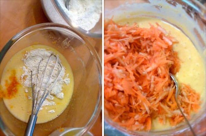 Sbattete le uova con lo zucchero, unite margarina, la scorza degli agrumi e, poca alla volta, la farina, sempre mescolando con la frusta. Unite la frutta e incorporate con delicatezza. Versate nella tortiera, cospargete con altro zucchero di canna e infornate per 50 minuti