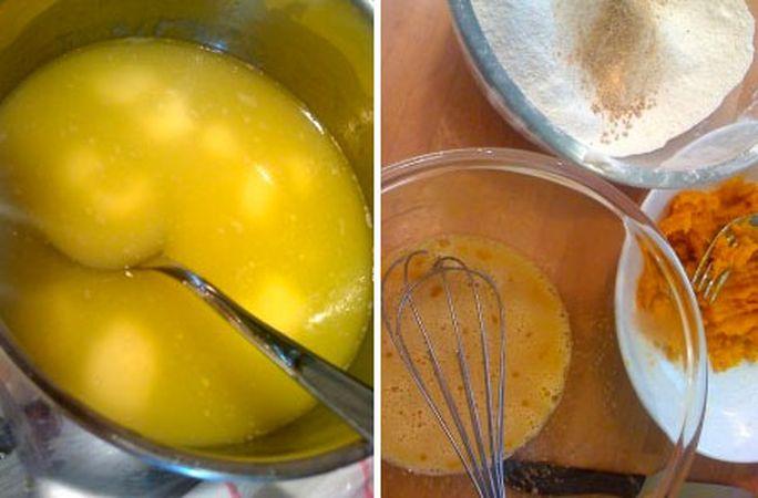 Pulite la zucca dai semi e cuocetela per 15 minuti a vapore (con la buccia).  Accendete il forno a 180 gradi. Versate il miele in un pentolino dal fondo pesante, unite la margarina e fate sciogliere a fuoco medio. Unite la farina e il lievito e setacciate, poi unite lo zenzero. Pulite la zucca dalla buccia e schiacciatela con una forchetta fino a ridurla in purè. Sbattete le uova con 70 gr di zucchero  (mettete 30 gr da parte per la finitura)
