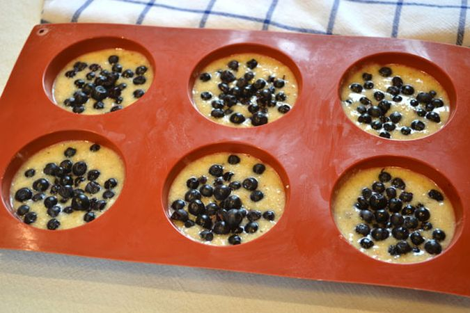 Versate il composto in stampi da muffin di silicone e versate qualche mirtillo su ogni tortino. Infornate per 20-25 minuti.