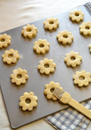 Passato il tempo di riposto, accendete il forno a 180 gradi; con un mattarello, stendete l'impasto (sul piano di lavoro infarinato) con uno spessore di 1 cm circa e ritagliate i biscotti che adagerete su una placca antiaderente o una rivestita con carta forno, distanziandoli di 5 cm circa. Sbattete appena gli albumi, unite lo zucchero previsto per la glassa e spennellate i biscotti. Infornate per 20 minuti circa, finché i bordi iniziano a colorirsi appena