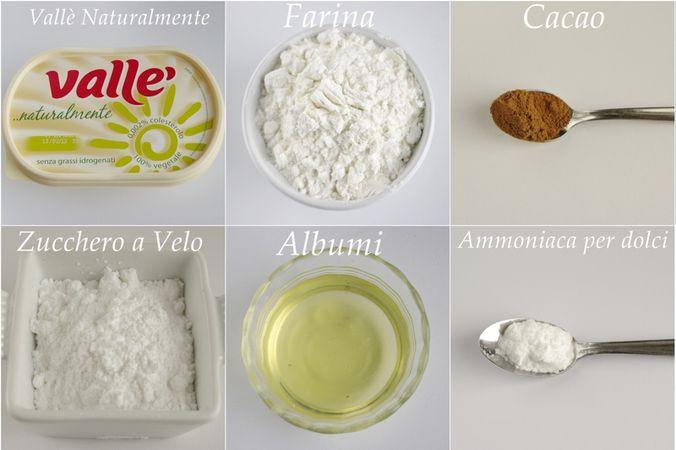 Ingredienti. Setacciare in una ciotola la farina, il cacao, l'ammoniaca per dolci ed il sale