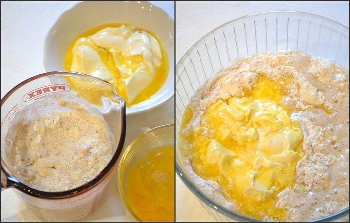Fate intiepidire appena il latte (non deve essere molto caldo) e mescolate col lievito,  100 gr di farina e 50 gr di zucchero. Coprite e lasciate riposare per 15 minuti (si formerà un composto pieno di bolle). Nel frattempo, sciogliete la margarina a bagnomaria o nel microonde e sbattete leggermente le uova. Trascorso ¼ d'ora, versate la farina rimanente in una ciotola e unite zucchero, sale e spezie. Mescolate, poi incorporate il latte col lievito, la margarina e le uova
