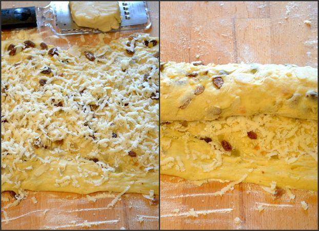 Quando l'impasto è lievitato, potete incorporare la frutta. Tritate le mandorle intere nel mixer o col coltello (non troppo finemente) e  mescolatele  alla frutta ammollata nel brandy e alle mandorle a lamelle. Stendete la pasta lievitata sulla spianatoia (formate un rettangolo di circa 45x35 cm) e versate metà del composto sulla superficie. Piegate a metà, schiacchiate con le mani, stendete di nuovo (stessa misura di prima)e ripetete l'operazione con la frutta rimasta. Infine, grattugiate il marzapane (che si sarà indurito in frigo) in modo da coprire la superficie. Arrotolate la pasta, poi fate rotolare un po' sulla spianatoia per compattare