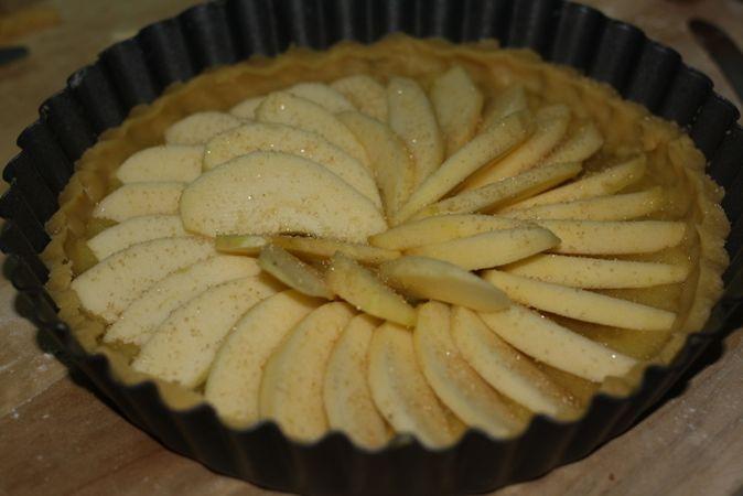 Sistemate le mele (numero 3) a raggiera e ricoprite con dello zucchero di canna<br /> Infornate per circa 30min. a 180° e decorate con i mirtilli in sciroppo