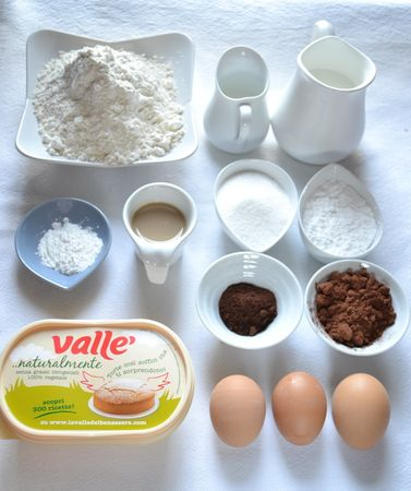 Gli ingredienti. Accendete il forno a 200 gradi. Mescolate farina, lievito, caffè e cacao e setacciate, poi tenete da parte.