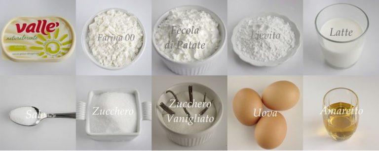 Gli ingredienti. Setacciare in una ciotola la farina con la fecola, il lievito ed il sale