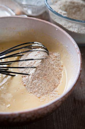 A questo punto unite le farine   e il latte alternandoli ottenendo un composto non troppo liquido