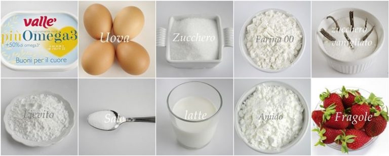 Gli ingredienti. Setacciare in una ciotola la farina con il lievito ed il sale. Sciogliere Vallé piùOmega3 e lasciare raffreddare. Montare a neve ben ferma con un cucchiaino di zucchero gli albumi