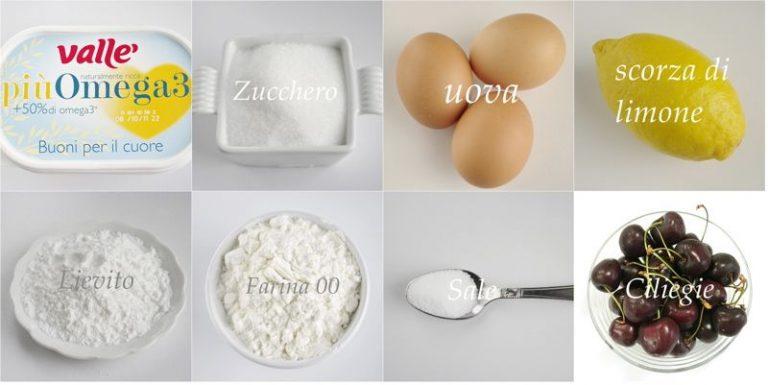 Gli ingredienti. Lavare e snocciolare le ciliegie quindi tagliarle in 4 pezzi
