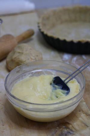 preparare la crema pasticciera. Lavorare i tuorli con lo zucchero e aggiungete a filo il latte, la vaniglia e poi la farina. Addensare la crema mescolando con un cucchiaio