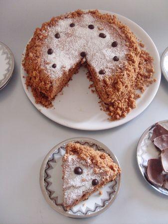 trascorso il tempo e dopo che la torta si sia raffreddata farcirla con la ganache, cocco rapè e qualche chicco di cioccolato.