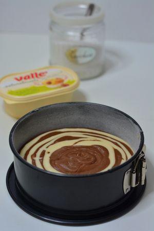Versare nel centro dello stampo il composto, alternando un cucchiaio di composto chiaro e uno al cacao (uno sull'altro: piano piano si allargherà verso i bordi)