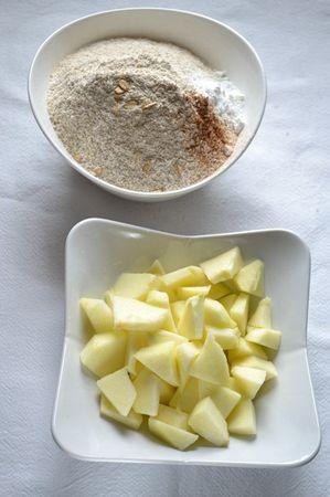Tritate finemente i fiocchi di avena nel mixer. Mischiate con la farina 00, il lievito e la cannella. Pelate la mela, tagliatela a piccoli pezzetti e irrorate col succo di limone; mettete da parte