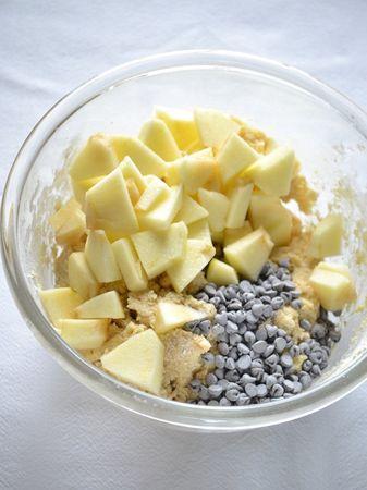 Unite le farine poco per volta, mescolando bene. Infine, aggiungete le gocce di cioccolato e i pezzetti di mela; mescolate, coprite la ciotola con pellicola e mettete in frigo per un'ora circa