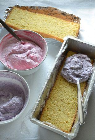 Dividete il composto in 3 parti uguali e mescolatele alla polpa di frutta. Mettete il primo strato di torta nello stampo e ricopritelo con una delle creme. Livellate e procedete fino a esaurimento degli ingredienti