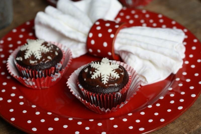 Muffins al cioccolato innevati
