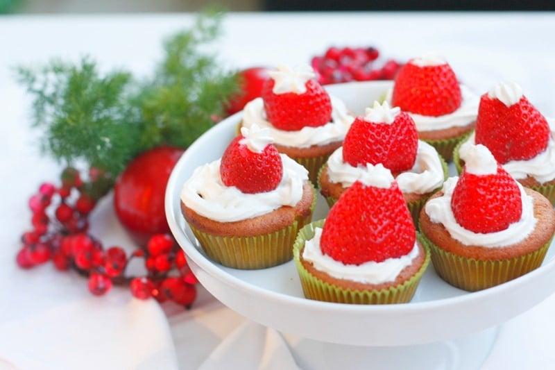 Muffins cappello di Babbo Natale