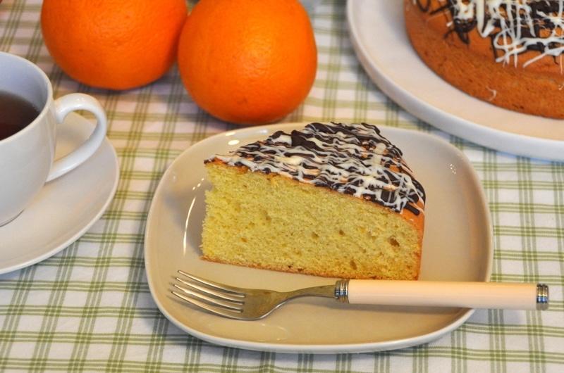"""Torta all'arancia con cioccolato zig-zag """"Torta soffice"""""""