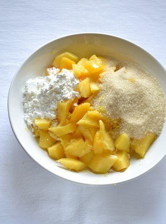 Trascorso il tempo di riposo, accendete in forno a 180 gradi. Ungete e infarinate uno stampo da crostata (24 cm diametro), possibilmente a fondo rimovibile. Stendete ¾ della pasta e foderate lo stampo. Mettete nuovamente lo stampo e la pasta rimasta in frigo. Sbucciate e tagliate a pezzetti la frutta, unite 75 gr di zucchero di canna, l'amido e la scorza grattugiata e mescolate.