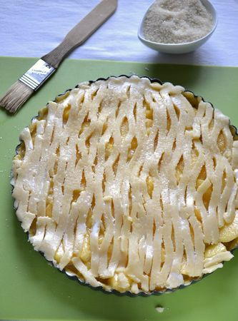 Prendete lo stampo da frigo, bucherellate la base e riempitela col composto di frutta. Livellate e coprite con striscioline di pasta rimasta. Spennellate con latte, spargete lo zucchero di canna rimasto in superficie e infornate per 40 minuti
