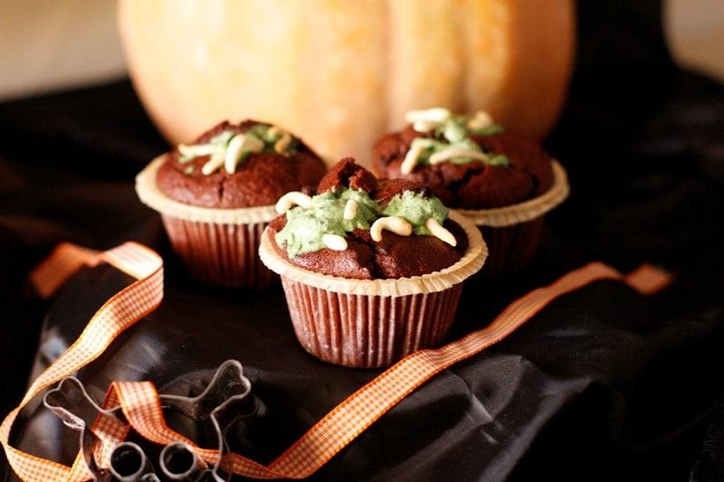 Muffins di Halloween con vermetti