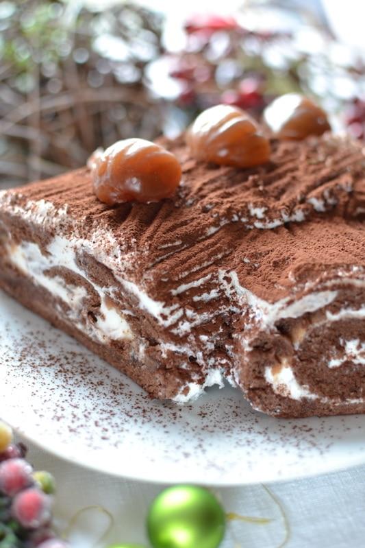 Tronchetto di Natale cioccolato e castagne