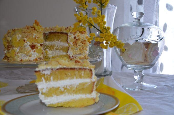 Farcire la torta per intero con la mousse e decorare con briciole d'impasto.