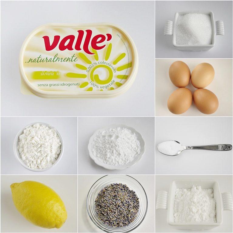 Ingredienti. Mescolate i fiori di lavanda allo zucchero e passateli al tritatutto. Grattugiate la buccia dei limoni e mettetela da parte. Spremete i limoni per ottenere 50 ml di succo.<br /> Setacciate in una ciotola la farina con il lievito ed il sale.