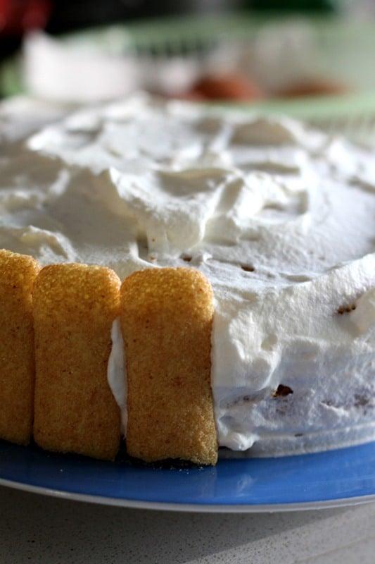 Aggiungere il terzo disco e coprire con la restante panna tutta la torta. Cominciare a formare una corona tutta intorno con i pavesini.