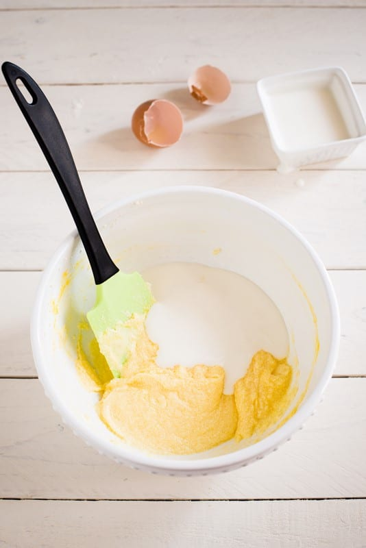 lo yogurt mescolando bene dopo ogni aggiunta.