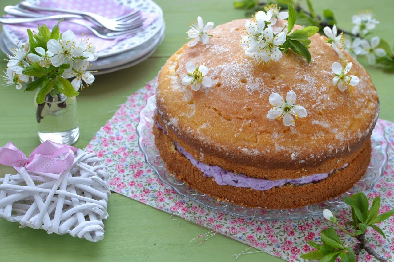 Torta limone e mirtilli