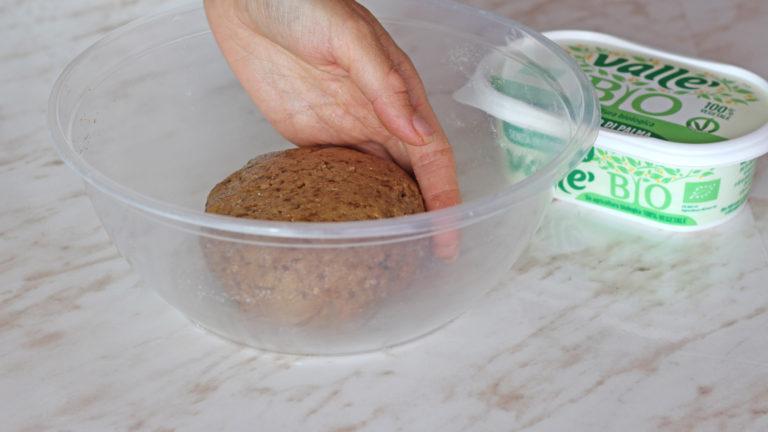 Versate quindi il succo di mela e proseguite ad impastare, aggiungendo eventualmente acqua fredda q.b., fino ad ottenere un panetto compatto come una pasta frolla che farete riposare in frigorifero per 20 minuti.<br />