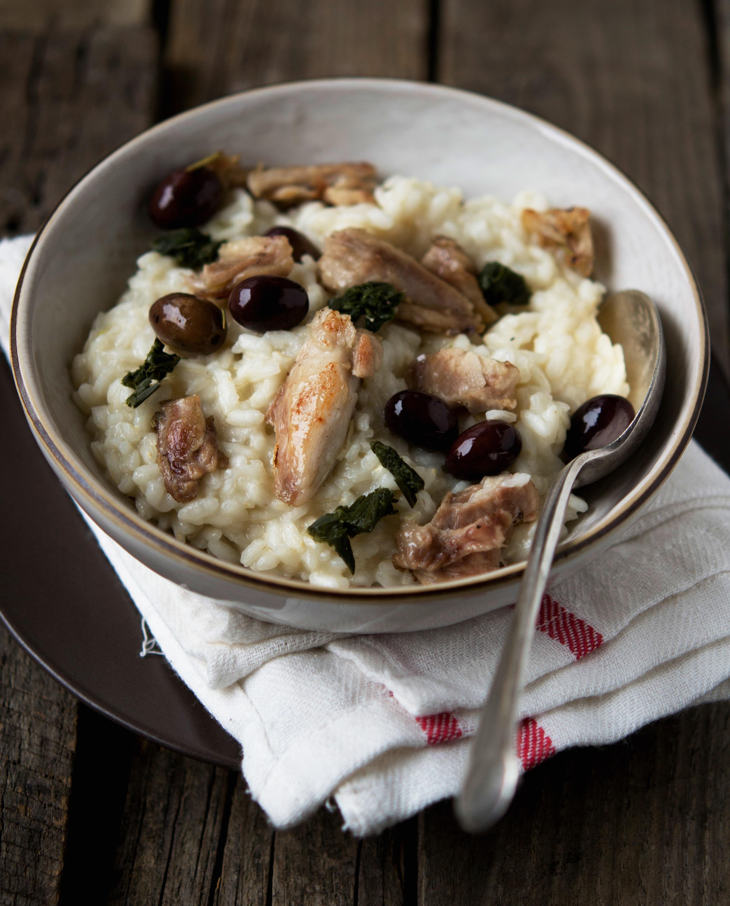 Risotto con coniglio e olive taggiasche