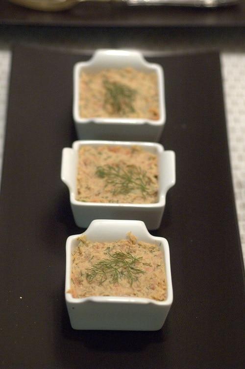 Rillettes di trota salmonata con finocchietto selvativo e Sambuca
