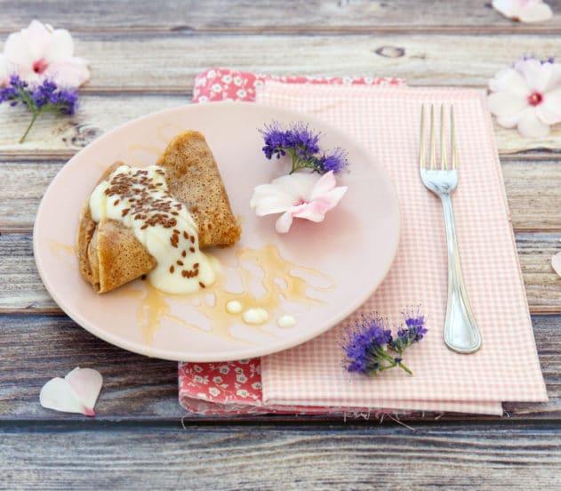 Mini- crêpe di farro con miele mille fiori e semi di lino 5