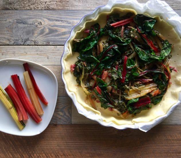 Torta salata con bietole rosse e salame 5