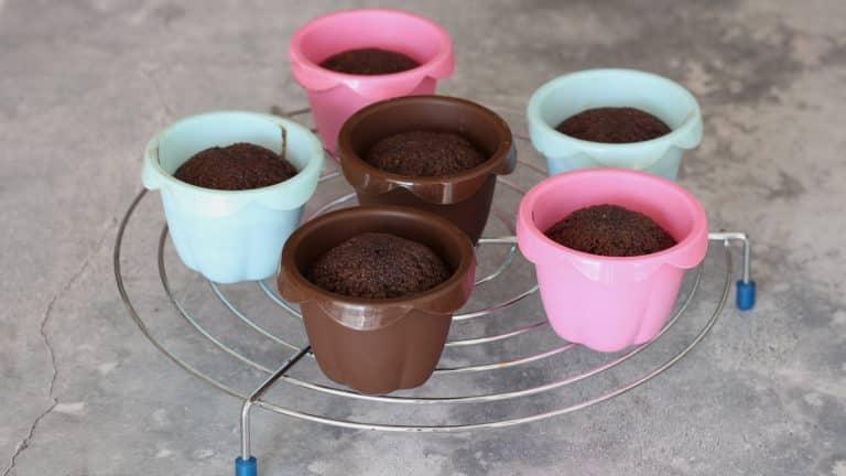Dividete l'impasto ottenuto in 6 stampini per cupcakes e cuoceteli in forno per 20 minuti, quindi sfornateli e lasciateli raffreddare completamente