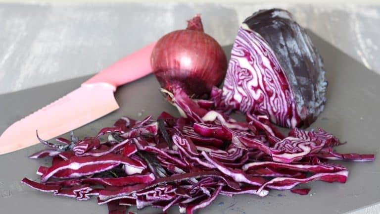 Tagliate il cavolo cappuccio viola e la cipolla a strisce sottili