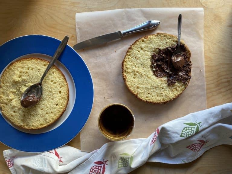 Tagliare in due (o più) dischi la torta e distribuire la crema di nocciole.  Sovrapporre il secondo disco