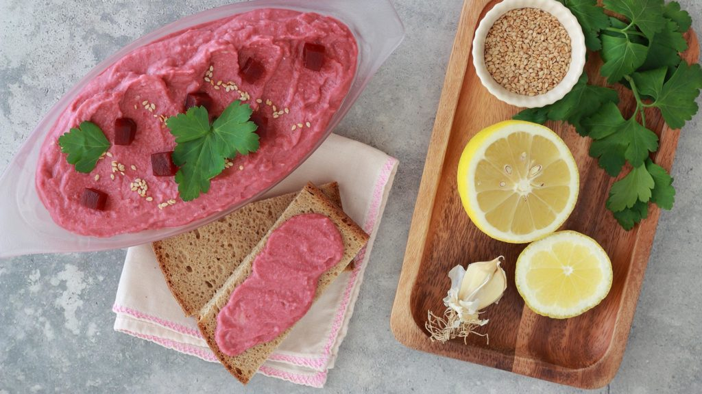 Hummus light di barbabietola