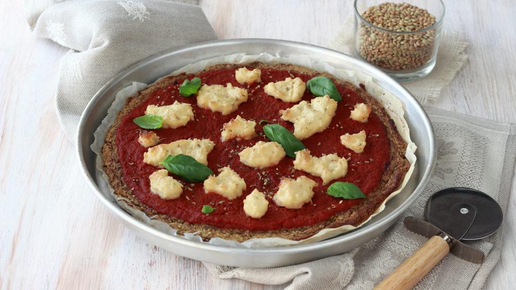 Pizza vegana di lenticchie